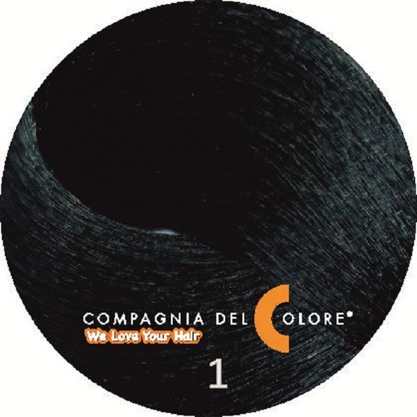 Безаммиачный краситель для волос  1 черный 100 мл Compagnia Del Colore (CDC краска Del Color)