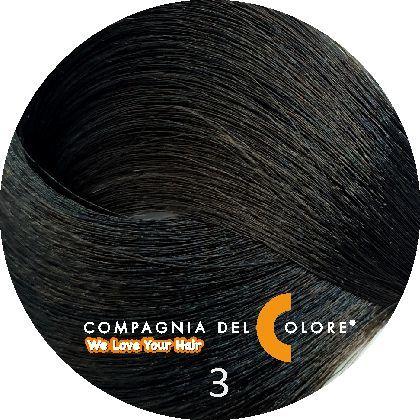 Безаммиачный краситель для волос 3 темно-коричневый 100 мл Compagnia Del Colore (CDC краска Del Color)