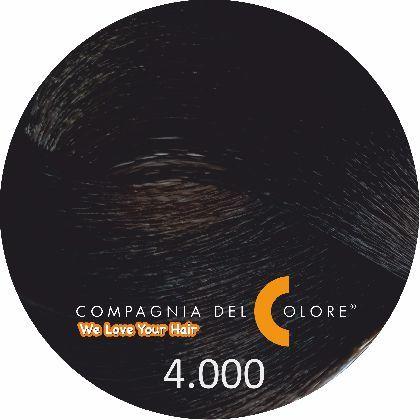 Compagnia Del Colore Стойкий краситель для волос 4/000 Интенсивный натуральный коричневый 100 мл (CDC краска Del Color)