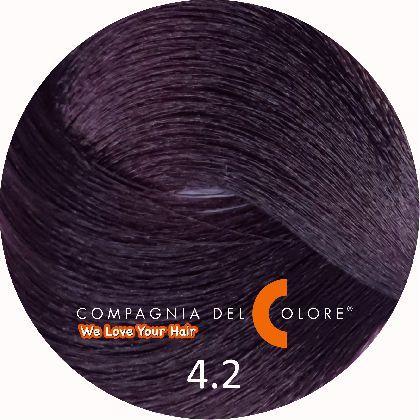 Безаммиачный краситель для волос 4/2 коричневый-фиолетовый 100 мл Compagnia Del Colore (CDC краска Del Color)