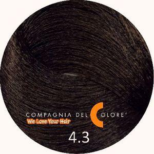 Compagnia Del Colore Стойкий краситель для волос 4/3 Коричневый с золотом 100 мл (CDC краска Del Color)