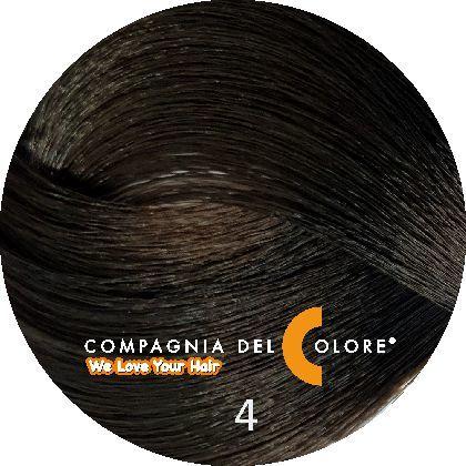 Compagnia Del Colore Стойкий краситель для волос 4  Коричневый   натуральный 100 мл (CDC краска Del Color)