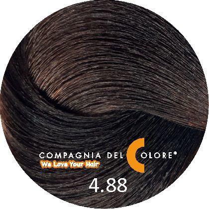 Безаммиачный краситель для волос 4/88 коричневый мокко 100 мл Compagnia Del Colore (CDC краска Del Color)