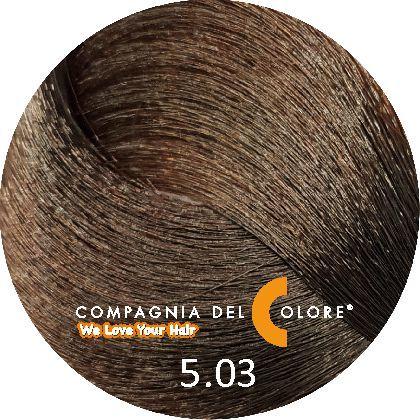 Compagnia Del Colore Стойкий краситель для волос 5/03 Светло-коричневый натуральный теплый 100 мл (CDC краска Del Color)