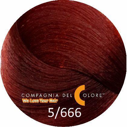 Безаммиачный краситель для волос 5/666 св-коричн. красный инт. 100 мл Compagnia Del Colore (CDC краска Del Color)