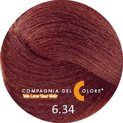 Compagnia Del Colore Стойкий краситель для волос 6/34 Темно-русый золотистый медный 100 мл (CDC краска Del Color)