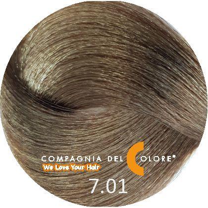 Безаммиачный краситель для волос 7/01 натур.пепельный блондин 100 мл Compagnia Del Colore (CDC краска Del Color)