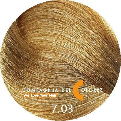 Compagnia Del Colore Стойкий краситель для волос 7/03 Теплый натуральный средне-русый 100 мл (CDC краска Del Color)