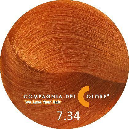 Compagnia Del Colore Стойкий краситель для волос 7/34 Средне-русый  золотой медный 100 мл C(CDC краска Del Color)