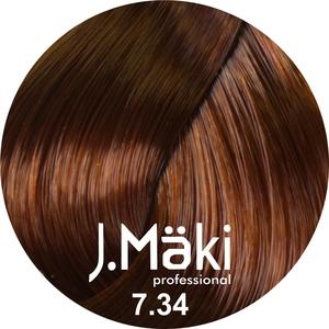 J.Maki Стойкий краситель для волос 7.34 Золотисто-медный 60 мл (J.Mäki Professional)