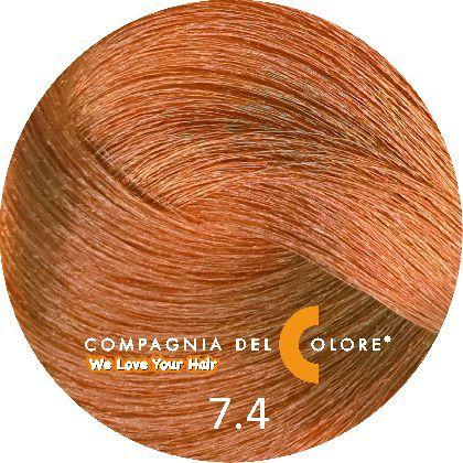 Compagnia Del Colore Стойкий краситель для волос 7/4 Средне-русый  медный 100 мл (CDC краска Del Color)