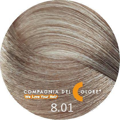 Compagnia Del Colore Стойкий краситель для волос 8/01 Светло-русый натуральный пепельный 100 мл (CDC краска Del Color)
