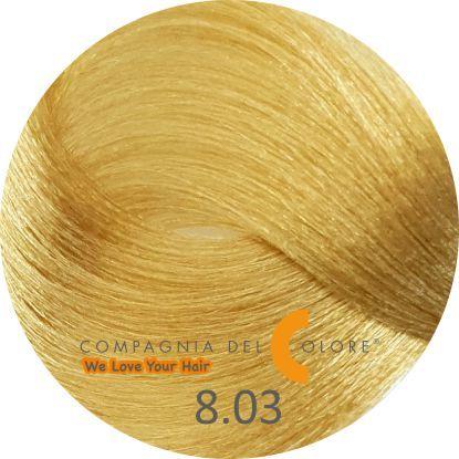Compagnia Del Colore Стойкий краситель для волос 8/03 Светло-русый натуральный теплый 100 мл (CDC краска Del Color)