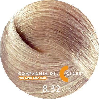 Безаммиачный краситель для волос 8/32 светло-русый бежевый 100 мл Compagnia Del Colore (CDC краска Del Color)