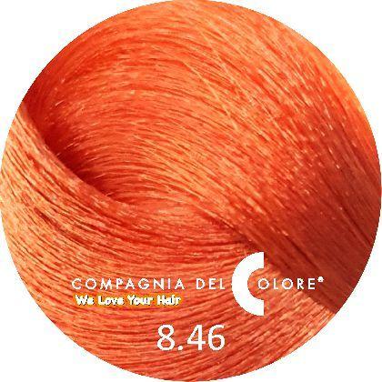 Compagnia Del Colore Стойкий краситель для волос 8/46 Светло-русый медный красный 100 мл (CDC краска Del Color)